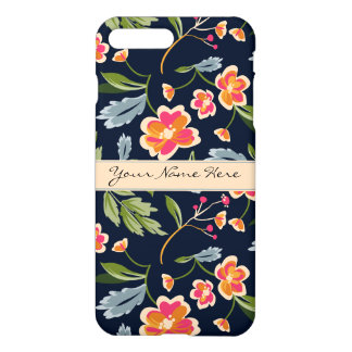 Stylish Vibrant Floral Pattern on Dark Blue iPhone 8 Plus/7 Plus Case