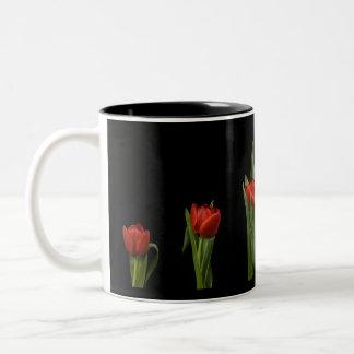 Stylish Vibrant Red Tulips On Black Mug