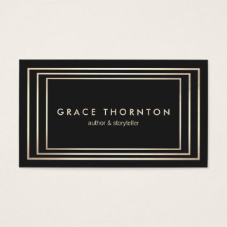 Stylish Vintage Black Gold Border Business Card