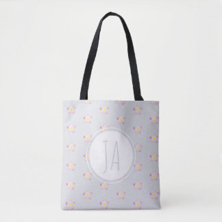 Stylish Vintage Floral Gray Monogram Initials Tote Bag