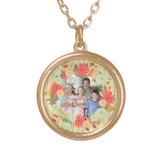 Stylish vintage look floral photo frame gold plated necklace