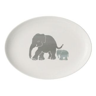 Stylish Vintage Natural Colored Elephant with Baby Porcelain Serving Platter