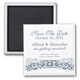 Stylish Vintage Scroll Save The Date Magnet