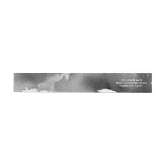 STYLISH WATERCOLOR chic grey mono ink address Wrap Around Label