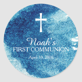 Stylish Watercolor First Communion Classic Round Sticker