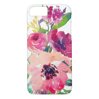 Stylish Watercolor Pink Red Floral Roses iPhone 8/7 Case