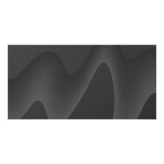 Stylish Wave Design in Dark Gray Customized Photo Card