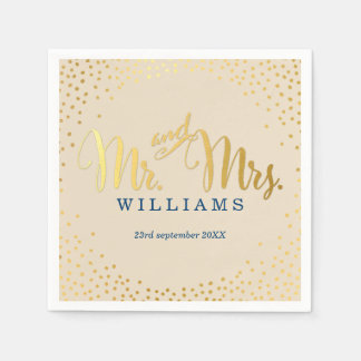 STYLISH WEDDING mini confetti gold navy ivory Paper Napkins