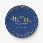 STYLISH WEDDING TABLE mini confetti gold navy Paper Plate