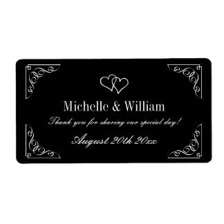 Stylish wedding wine or water bottle labels