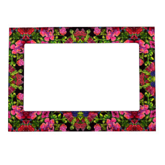 Stylish whimsical lux floral watercolor pattern magnetic picture frame