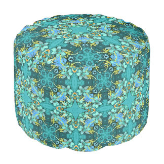 Stylish whimsical lux floral watercolor pattern pouf