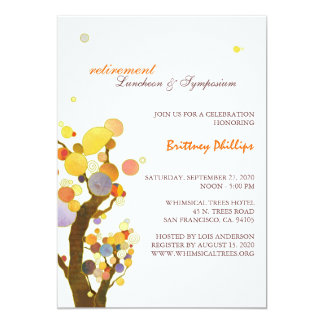 Stylish Whimsical Trees Retirement Party 13 Cm X 18 Cm Invitation Card