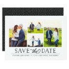 Stylish White 4 Photo Save the Date Card