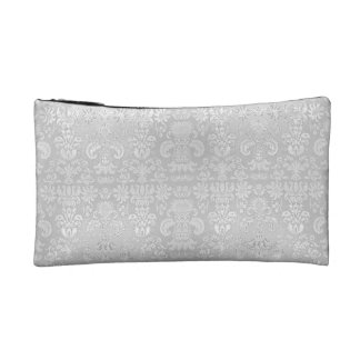 Stylish-White-Damask-Wedding-Cosmetic-Travel-Fob Cosmetic Bag