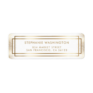 Stylish White & Gold Border Wedding Return Address Label