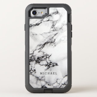Stylish White Marble Texture with Name OtterBox Defender iPhone 8/7 Case