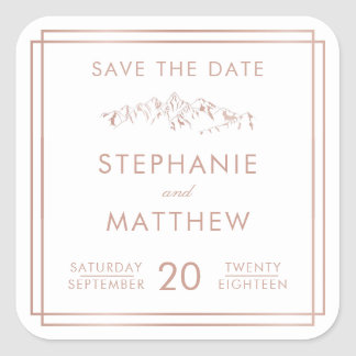 Stylish White & Rose Gold Mountain Save The Date Square Sticker