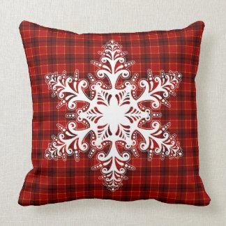 Stylish White Snowflake Classic Christmas Pattern Throw Pillow