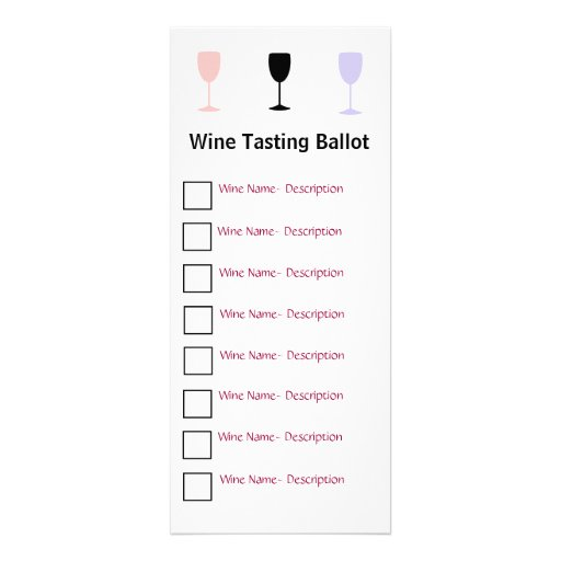 Stylish Wine Tasting Ballot Personalized Invites