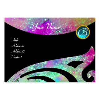 STYLISH WINGS MONOGRAM ,AQUA BLUE pink,purple,teal Pack Of Chubby Business Cards
