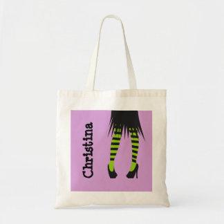 Stylish witch fashion stripe leggings Halloween Budget Tote Bag