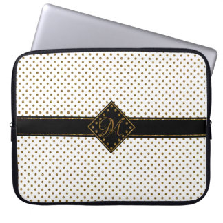 STYLISH WITH GOLD GLITTER POLKA DOTS MONOGRAMMED LAPTOP SLEEVE