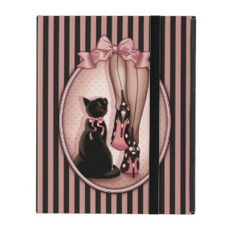 Stylish woman and black cat iPad case