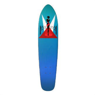 Stylish woman silhouette on red carpet with stars skate board