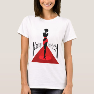 Stylish woman silhouette on red carpet with stars T-Shirt