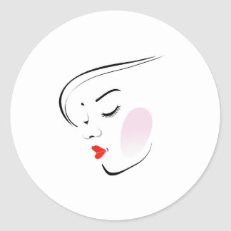 Stylish woman wearing a red lipstick round sticker