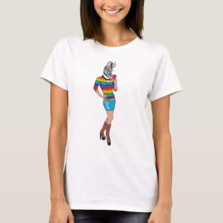 Stylish Woman with Zebra Head T-Shirt