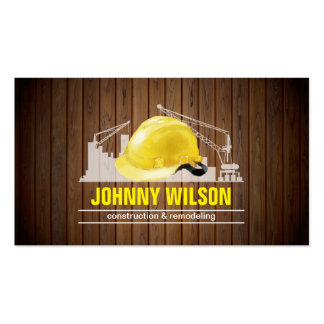 Stylish Wood Background Safety Helmet Building Pack Of Standard Business Cards