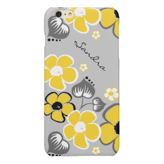 Stylish Yellow and Gray Floral iPhone 6 Plus Case