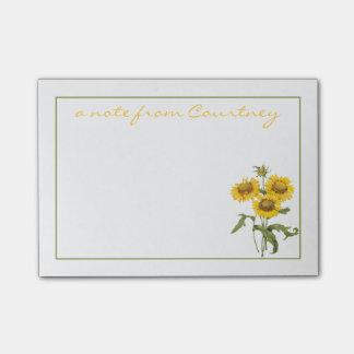 Stylish Yellow Sunflowers Personalized Post-it® Notes