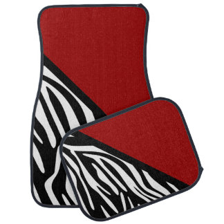 Stylish Zebra Print and Red Car Mats