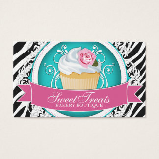Stylish Zebra Print - Cupcake Business Cards