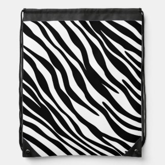 Stylish Zebra Print Drawstring Cinch Bag