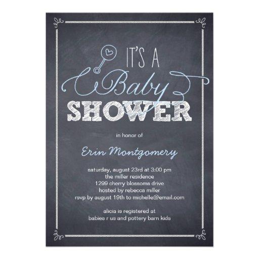Stylishly Chalked Baby Shower Invitations - Blue Invitations