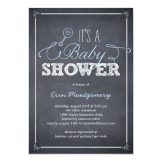 Stylishly Chalked Baby Shower Invitations - Blue