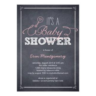 Stylishly Chalked Baby Shower Invitations - Pink
