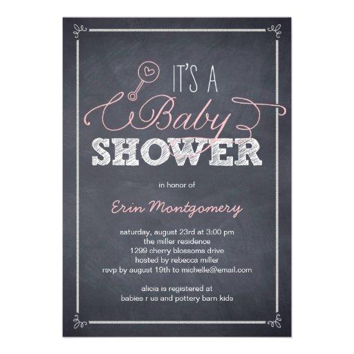 Stylishly Chalked Baby Shower Invitations - Pink Invitations
