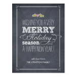 Stylishly Chalked Holiday Card Postcard Post Card