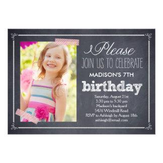 Stylishly Chalked Photo Birthday Invitation Invite