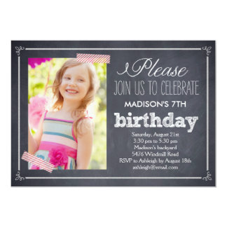 Stylishly Chalked Photo Birthday Invitation