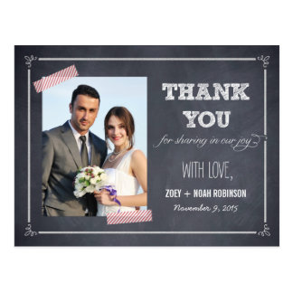Stylishly Chalked Wedding Thank You Card Postcard