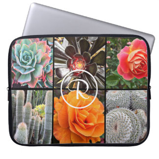 Stylishly chic cacti & roses photo custom monogram laptop sleeve