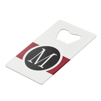 Stylishly Elegant Black, White & Red Line Monogram