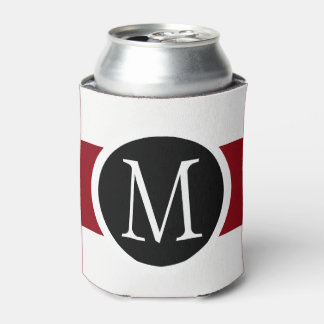 Stylishly Elegant Black, White & Red Line Monogram Can Cooler