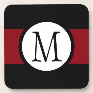 Stylishly Elegant Black, White & Red Line Monogram Coaster